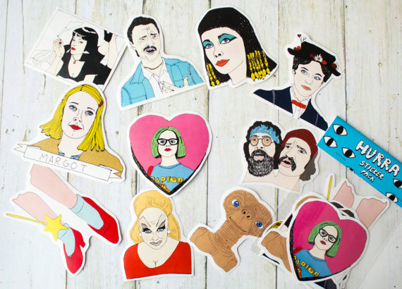 Etsy 90s Sticker Pack Pulp Fiction, Ghost World, Pink Flamingos