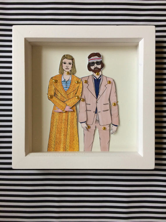 Wes Anderson Ritchie and Margot Tenenbaum Framed Paper Doll Etsy