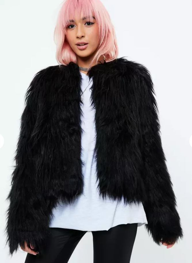 Marla Singer Fight Club Black Fur Coat Missguided