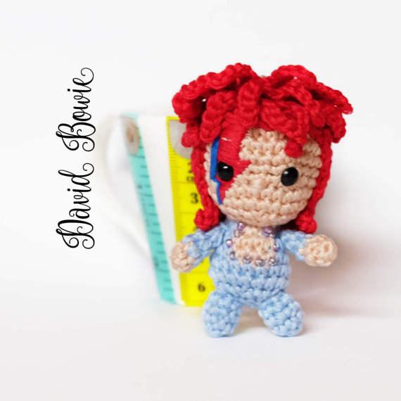 Ziggy Stardust/David Bowie Crochet Keychain gift idea