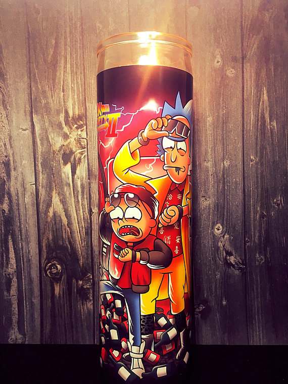 Rick and Morty back to the future candle christmas gift