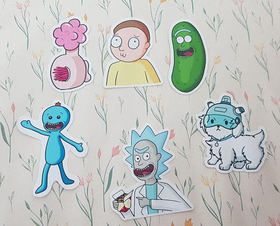Rick and morty sticker set christmas gift idea