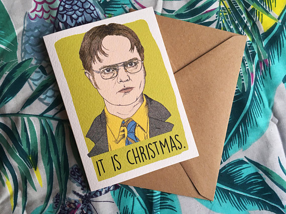 dwight schrute the office funny christmas card etsy
