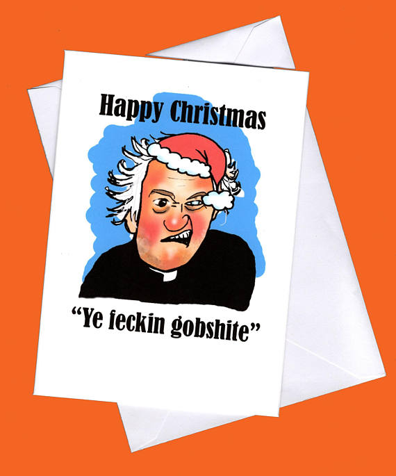 father ted christmas card etsy
