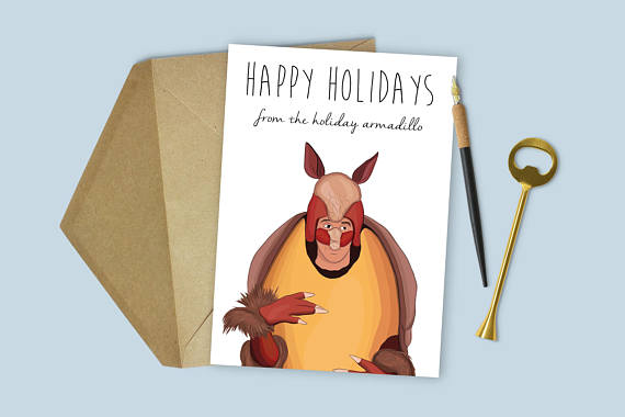 ross holiday armadilo christmas card