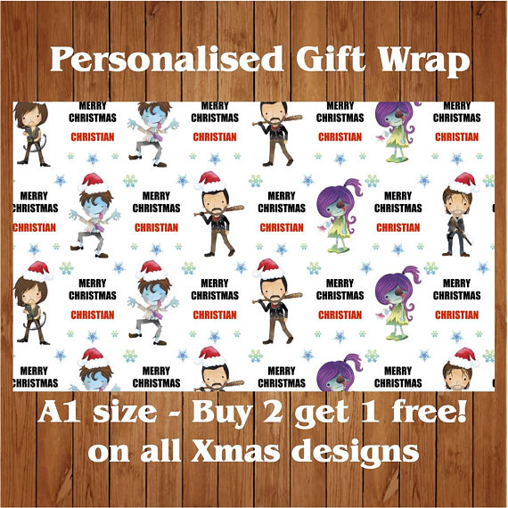 The walking dead christmas gift wrap etsy