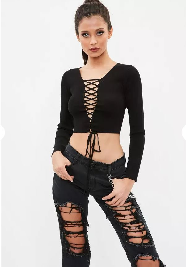 Black lace up top missguided