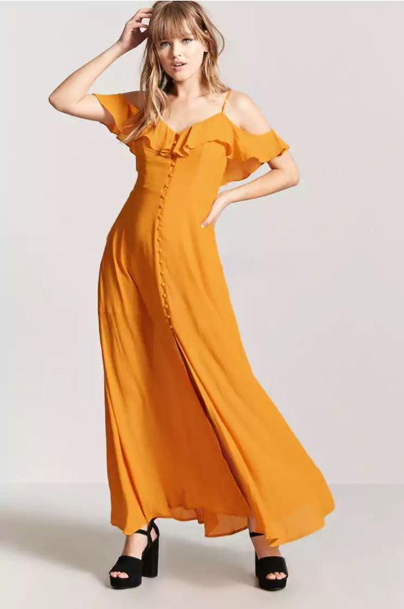 stevie nicks orange maxi dress forever 21
